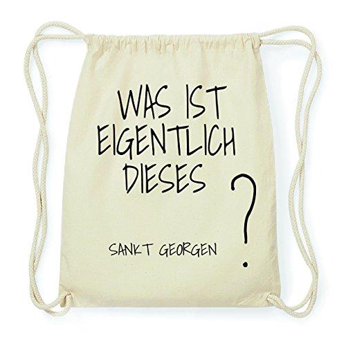 JOllify SANKT GEORGEN Hipster Turnbeutel Tasche Rucksack aus Baumwolle - Farbe: natur Design: Was ist eigentlich