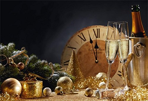 Christmas Trees Design Goblet - AOFOTO 10x7ft Happy New Year Backdrop Christmas Tree Decoration Background Carnival Dinner Table Holiday Eve Celebration Champagne Glass Goblet Evening Reception Festival Party Banner Studio Props