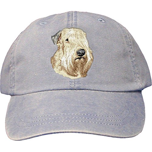 Cherrybrook Dog Breed Embroidered Adams Cotton Twill Caps - Periwinkle - Soft Coated Wheaten Terrier (Terrier Embroidered Cap)