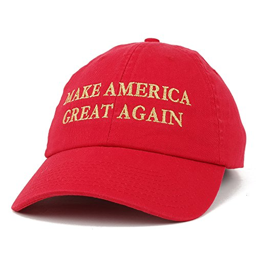 (Made in USA Donald Trump Soft Cotton Cap - Make America Great Again Metallic Gold Embroidered - Red)