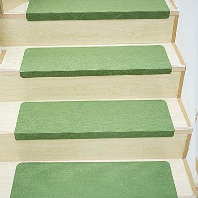 LANGPIG Alfombra de Puerta de Color sólido de 15 Piezas para Alfombra de Escalera de Rayas Antideslizantes alfombras de escaleras Autoadhesivas alfombras Protectoras Impermeables-Verde_Los 55x22cm: Amazon.es: Hogar