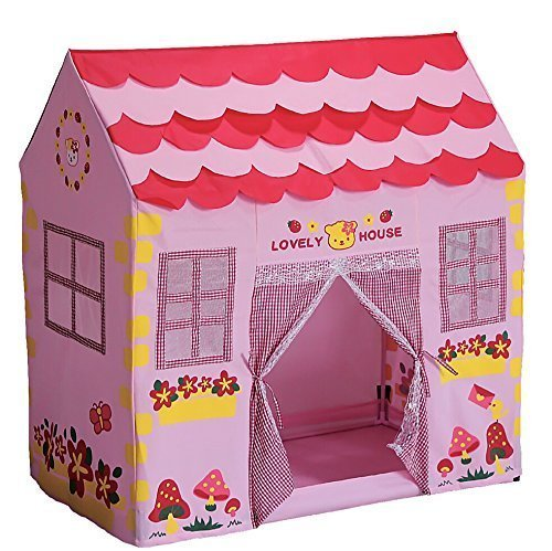 Kid Play House Tent,Lwang Playhouse Girl City House Kids Secret Garden Pink Play Tent Great Children - Playhouse Cottage House Girl City