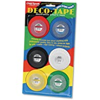 Chartpak Deco Bright Decorative Tape, 1/8 inch x 324 inch, Red/Black/Blue/Green/Yellow, 6/Pack