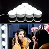 Vanity Mirror Lights, Guckmall 10 LED Dimmable Lights for Mirror, USB Power Supply and 4.82M Hidden Adjustable Length, 6500K Dimmable Daylight White for Makeup Dressing Table