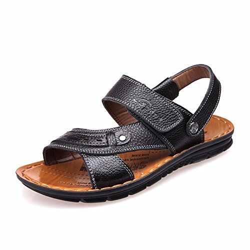 estate vera pelle sandali Uomini Spiaggia scarpa Uomini sandali Uomini scarpa traspirante Tempo libero scarpa Uomini tendenza ,neroE,US=9.5,UK=9,EU=43 1/3,CN=45