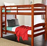 Bunk Beds Twin Over Twin Kids Furniture Bedroom Sets, Solid Hardwood with Built-In Ladder,Converts Into 2 Twin Beds, Color Cherry