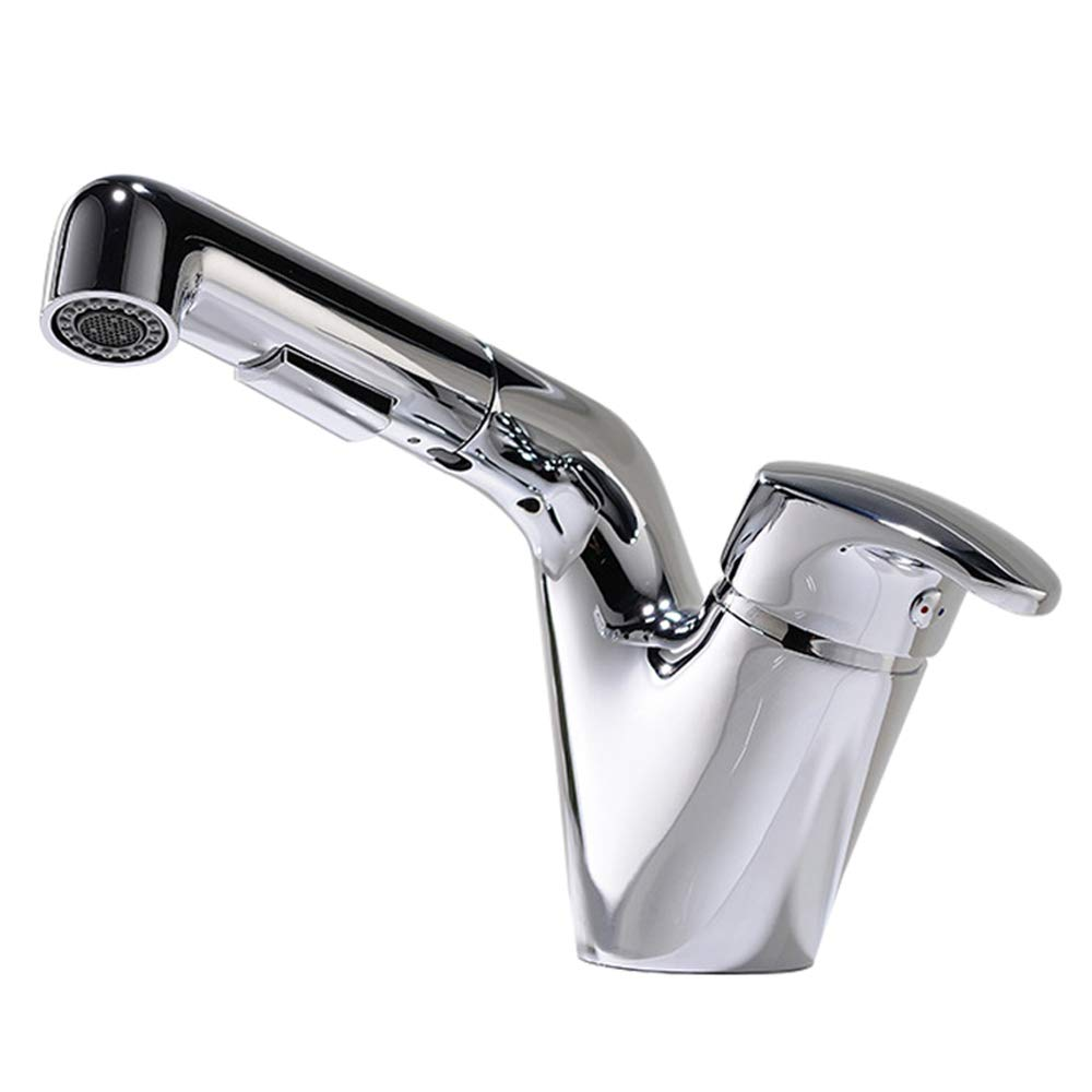 Chrome Jruia Elegant Extended Basin Mixer Bathroom Tap with Pull Out Mixer Tap Sink Tap Fitting for Bathroom Brass, silver