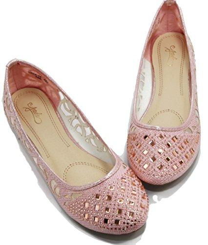 Walstar Women Basic Strass Glitter Mesh Flat Easy Slip On Pink