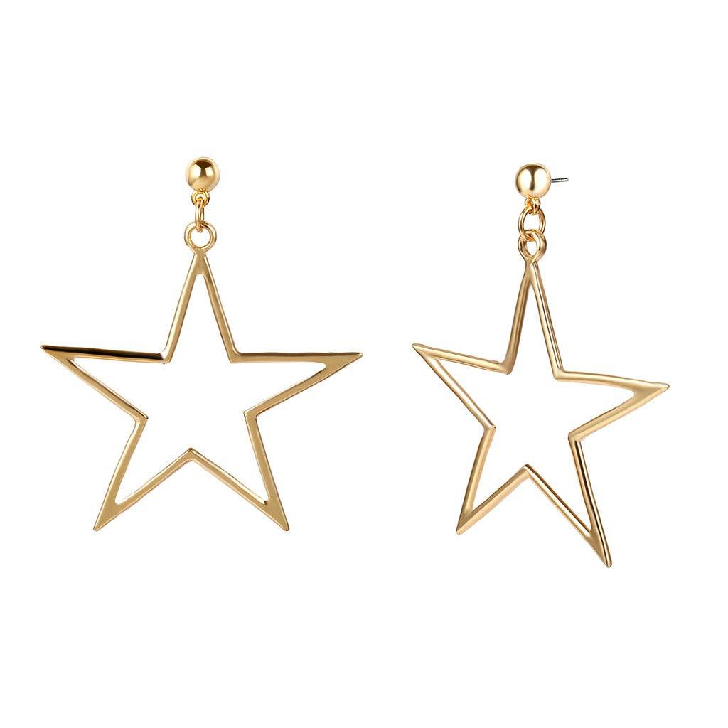 WaiiMak Women's Gold and Silver Earrings Pentagram Long Earrings (Gold)