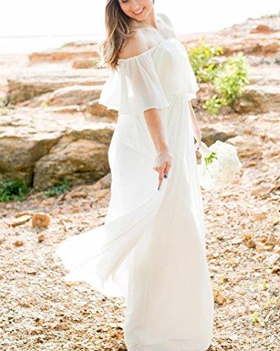 Beach Dresses DreHouse Wedding Shoulder Women's White Off Size Chiffon The Plus wy0p6X0qr