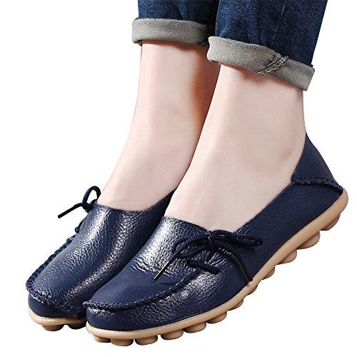 Amaxuan Femmes Mocassins En Cuir Mocassins Sauvage Conduite Décontractée Appartements Oxfords Respirant Chaussures Bleu Foncé