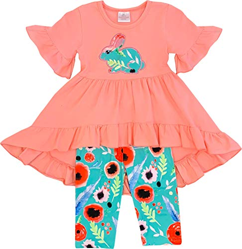 Outfit Capri Set - Boutique Toddler Girls Easter Bunny Ruffles Hi-Low Tunic Capris Outfit Set Coral Turquoise 3T/S