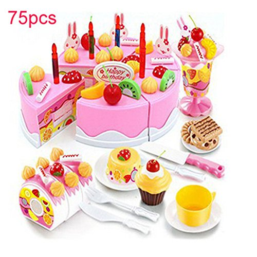 OWIKAR Birthday Party Fruit Cake Toys Pretend Food Playset Plastic Kitchen Cutting Toy Pretend Play Education Cutting Food Assortment Toy Set Birthday Cake for Children Boys Girls (75 Pcs Pink) by OWIKAR