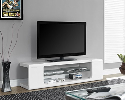Monarch specialties I 3535, TV Console, High Glossy with Tempered Glass, White, 60