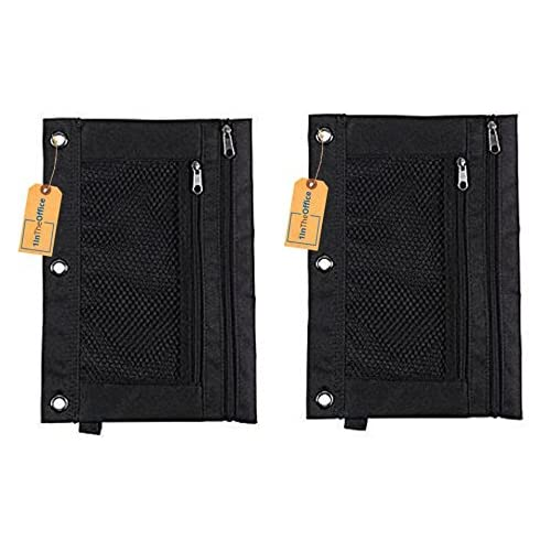 1InTheOffice Pencil Pouch 3 Ring, Black, Pack of 2