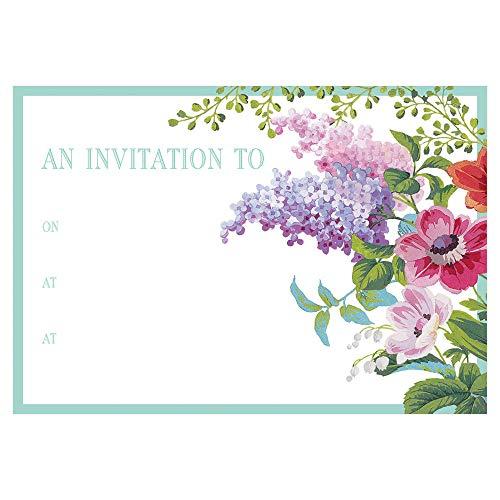 Caspari Edwardian Garden Invitations, 8 Fill-in Invitations & 8 Envelopes