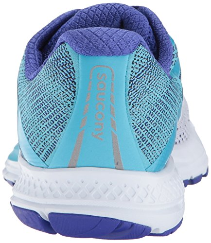Saucony Women's Ride 10 Running Shoe, White Blue, 8 Medium US