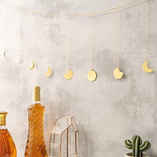 (Calculs Original Boho Gold Shining Moon Phase Wall Hanging Ornaments Moon Hang Art Room Decor for Wedding Retro Style Home Wall Decorations)