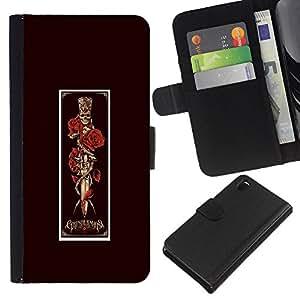 iBinBang / Flip Funda de Cuero Case Cover - Cráneo Cartel Vignette Daga Red Rose - Sony Xperia Z3 D6603