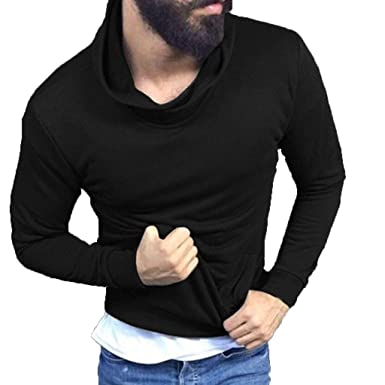 b21d18f9e37b Mayunn 2019 Fashion Men s Slim Fit Soft Turtleneck Long Sleeve Pullover T- Shirt Spring Summer