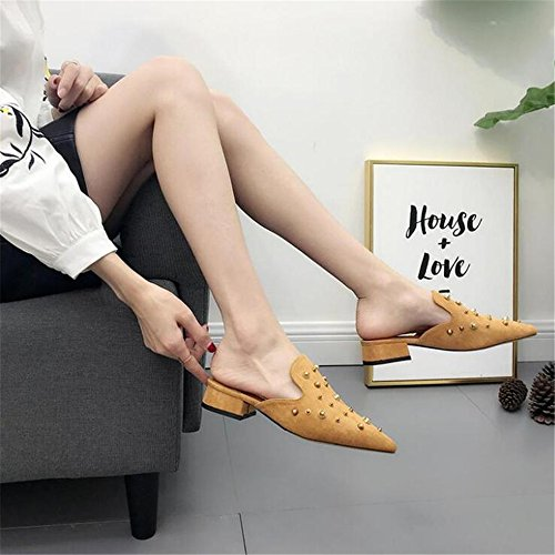 2018 Spring Pointed Mules Female Shoes Summer Brown Bow Shoes LYLIFE Slippers New Women Velvet Low Heel x6XfqfI