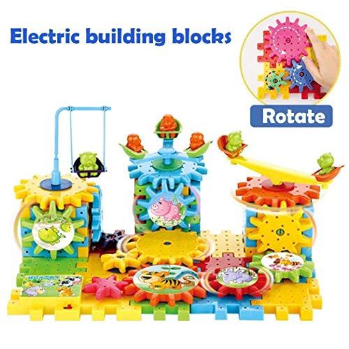 YENJO Kids 81 PCS Rotating Gear Electric Building Blocks Set Educational Toy Activity Play Centers