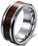 Black Tungsten Carbide Red Wood Inlaid Men's 8mm Flat Top Wedding Band Ring,Size 8