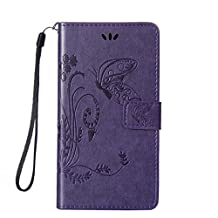 SZYT Phone Case for Samsung Galaxy S4 S IV SIV i9500, 5.0 inch, Imprint Butterfly with Handle Strap Purple