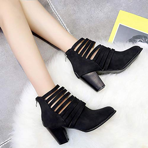Women HOMEBABY Toe Ankle Zipper Single Boots Autumn Black Round Rome Boots Shoes Short Shoes 1nx10qdZr