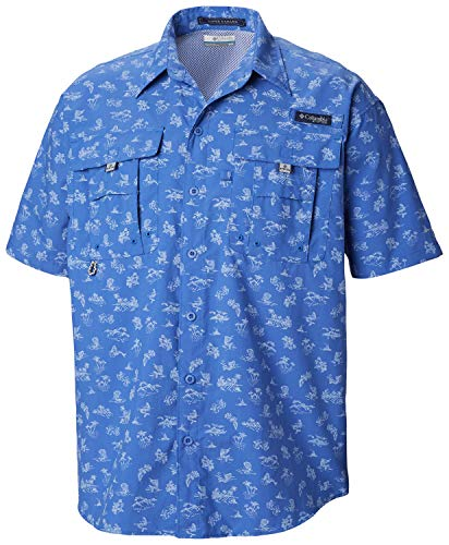 Columbia Men's PFG Super Bahama Short Sleeve Shirt,  Vivid Blue Mermaids N Marlins Print , Medium (Blue Fishing Marlin)