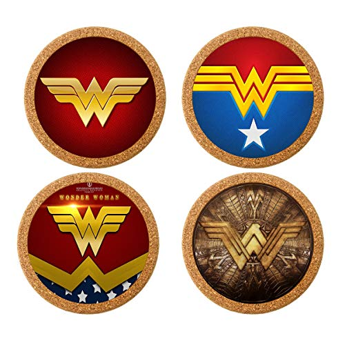 - Surmoler Coasters for Drinks 4 inches Drink Coaster (4-Piece Set) Round Natural Cork Coasters 0.4 inches Thick Heat-Resistant Reusable Saucers for Drinks - Wonder Woman