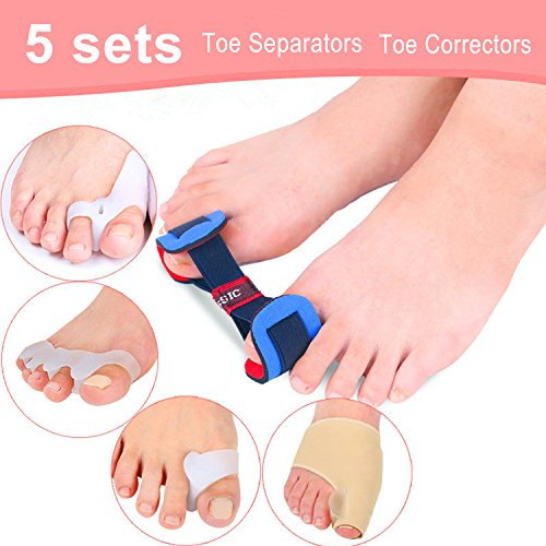 - ACESO 9 Pieces Toe Separators & Bunion Corrector Bunion Pain Relief Toe Drift Soft Gel Bunion Pad & Toe Spacer Kit Best Bunion Splint Yoga Toes - 5 Sets