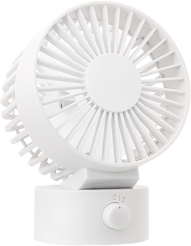 WitMoving Nuevo ventilador de escritorio USB silencioso con cabezal ajustable, dos aspas de ventilador, 2 velocidades, ventilador de escritorio de tamaño mini para oficina en el hogar