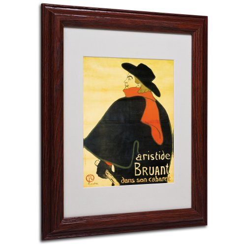 Aristide Bruant Canvas Wall Art by Henri Toulouse-Lautrec with Wood Frame, 11 by 14-Inch