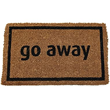 Entryways Non Slip Coir Doormat, 17-Inch by 28-Inch, Go Away Black