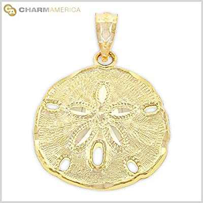 Gold Sand Dollar Charm, 14k Solid Gold by Charm America