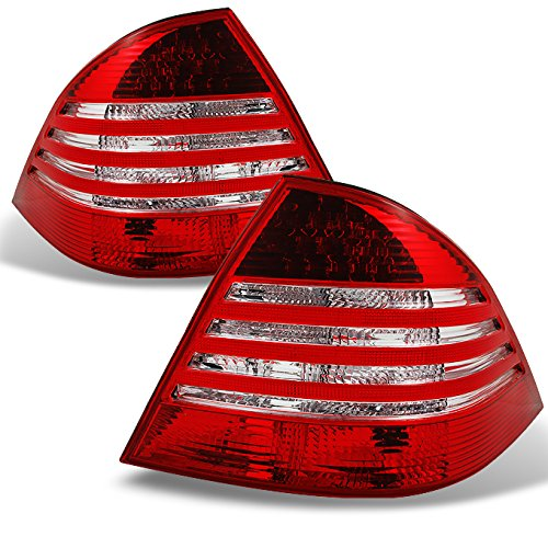 For Mercedes Benz W220 S Class Red Clear Lens Rear Tail Lights Brake Lamp Replacement Pair Left + Right