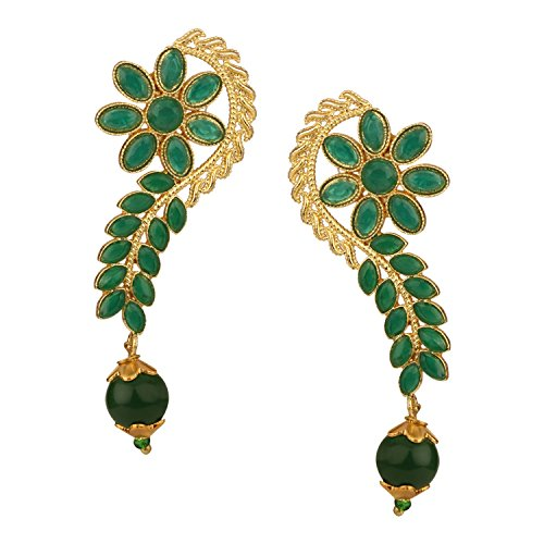 (Efulgenz Indian Bollywood 14K Gold Plated Crystal Kundan Pearl Floral Leaf Dangle Drop Earrings Jewelry Set)