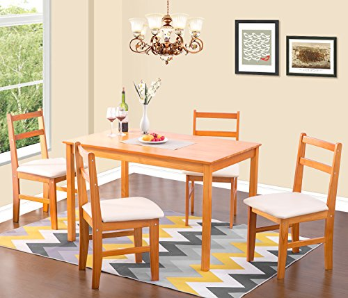 Merax Soild Wood 5-piece Dining Sets, 4 Person Dinning Table and Cushion Seat Dinning Chairs - Natural