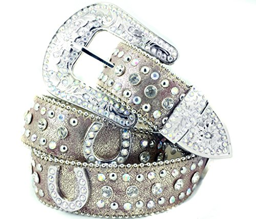 (Deal Fashionista BEIGE Horse shoe Western Rhinestone Bling Studded Removable Buckle)