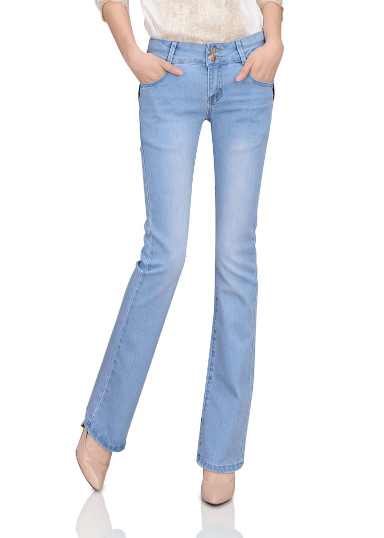 Smibra Womens Stretch Slimming 2-Button High Waisted Bootcut Curvy Long Jeans