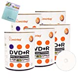 Smartbuy 500-disc 4.7GB/120min 16x DVD+R White Inkjet Hub Printable Blank Media Disc + Free Micro Fiber Cloth