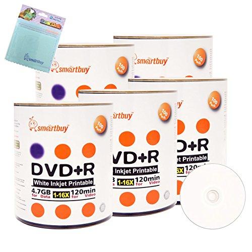 Smartbuy 500-disc 4.7GB/120min 16x DVD+R White Inkjet Hub Printable Blank Media Disc + Free Micro Fiber Cloth by Smartbuy