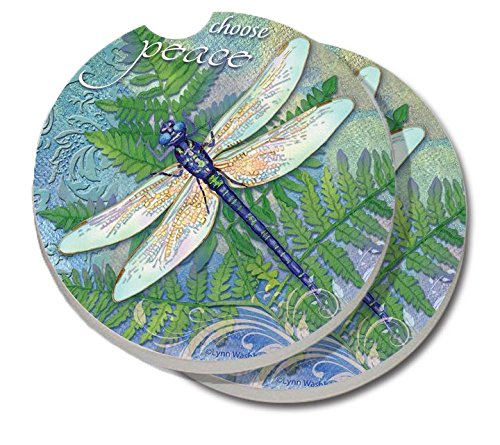 2 Pack Counterart Absorbent Stoneware Car Coaster, Dragonfly Inspiration ()