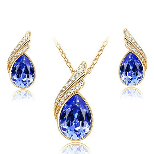 YIN E FANG Angel tears Austrian crystal necklace earrings fashion jewelry set -
