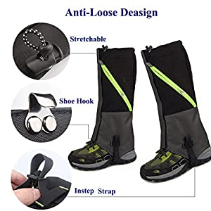 Hiking Gaiters Boots Snow Gaitors Waterproof,AYAMAYA Hiking Equipment Breathable High Boots Shoes Cover Leg Protection Guard, Anti Dust/Mud/Debris/Rock/Bush Leg Gaiters For Hunting Trimming Grass