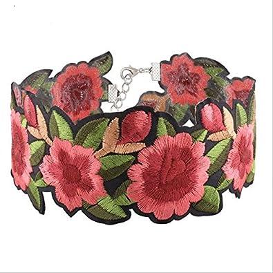 CHIPYHOME Gargantilla cool flore boradas en rojos y negros muy elegante para cenas, fiestas,