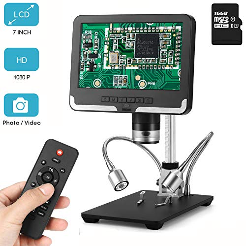 LCD Digital Microscope 7 in HD Screen 200X Magnification Zoom Camera Video Recorder with 16G SD Card, Angle Adjustable Microscope, 8 LED 2 Fill Lights, with Remote Control