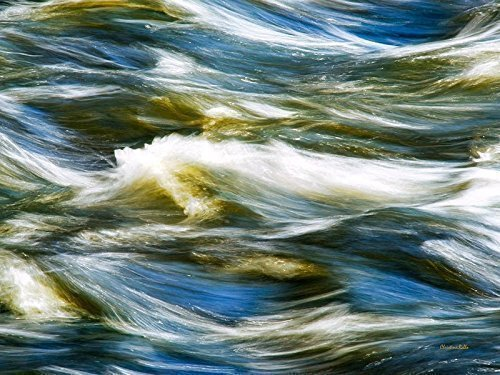 Nature Abstract Print, Photography Art Wall Decor, Blue Water And Waves In Motion by Christina Rollo