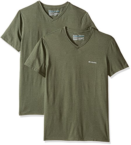 Columbia Men's 2-Pack Performance Cotton Stretch V-Neck T-Shirt, Dusty Olive/Green, - Heathered Green Olive